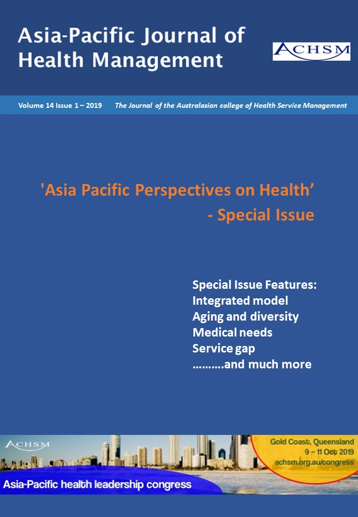 Vol 14 No 1 (2019) | Asia-Pacific Journal of Health Management